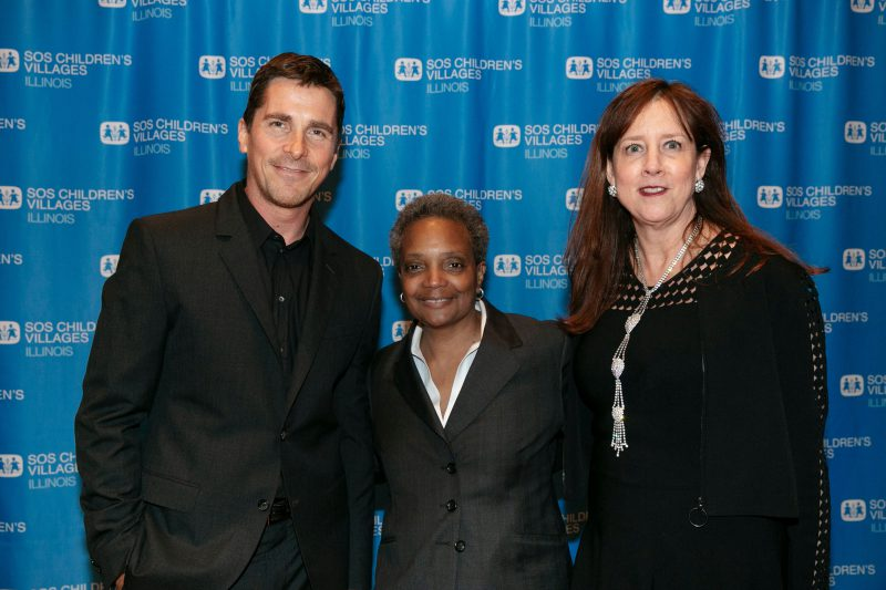 Christian Bale, Mayor-Elect Lori Lightfoot, and SOS Illinois Board Member Laurie Holmes