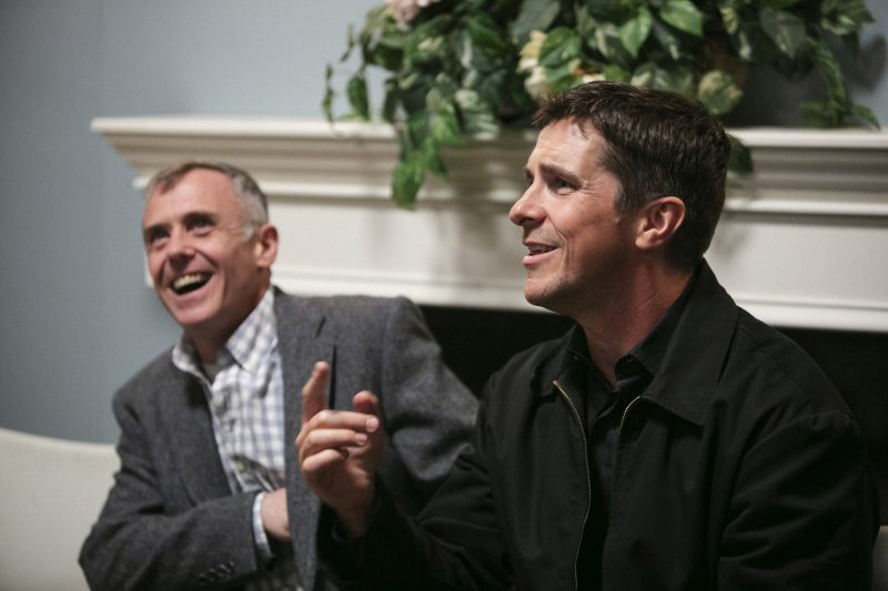 Christian Bale and David Eigenberg share jokes and laughter with SOS Illinois Foster Parents and staff.